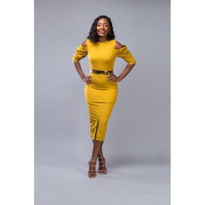 Mustard Yellow Belted Shift Dress