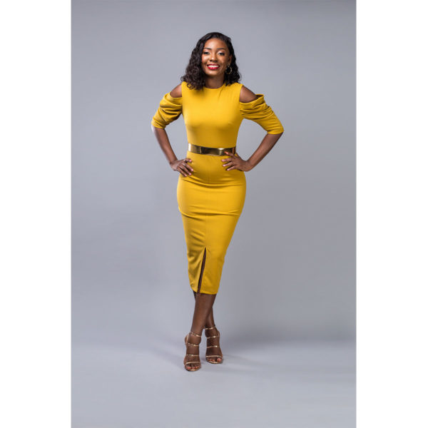 Mustard Yellow Belted Shift Dress